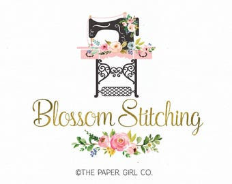 sewing machine logo seamstress logo fabric shop logo sewing notions logo premade sewing logo bespoke sewing logo watercolor logo watermark
