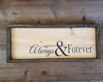 Always And Forever Sign. Wedding shower gift, rustic wedding gifts, forever sign, rustic wedding decor, wedding signs, always sign