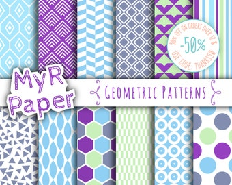 "Geometric digital paper: ""GEOMETRIC PATTERNS"" digital paper pack with geometric patterns for scrapbooking and invites in shades of blue"