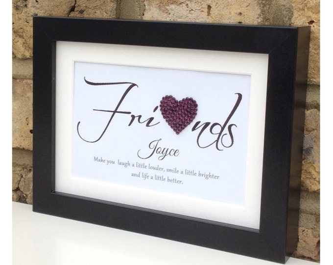 Personalised crystal heart Friendship quote framed print | Sparkle | Custom prints, Friend gifts | Friendship quote | Wall decor.