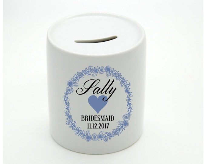 Personalised Money Box | Piggy Bank | Children money box | Wedding party gift | Bridesmaid gift | Flower girl gift | Thank you gift