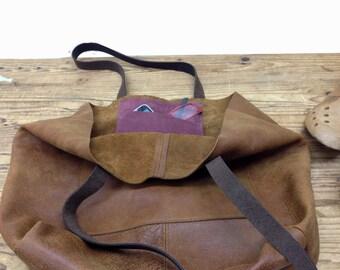 Sale!!! Large leather tote bag, Leather bag, Monogram leather tote, External pocket, bucket bag, Leather crossbody strap - Optional, Shopper