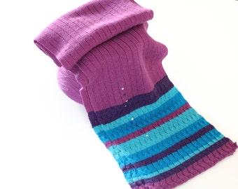 Hand knitted scarf,crochet scarf,purple scarf,green scarf,women scarf,winter scarf,Swarovski Crystals
