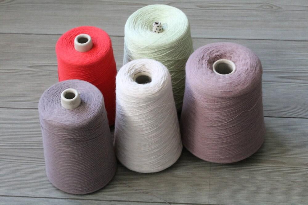 Machine Knitting Yarn Australia : Luxury set of five yarns on cone weaving knitting machine