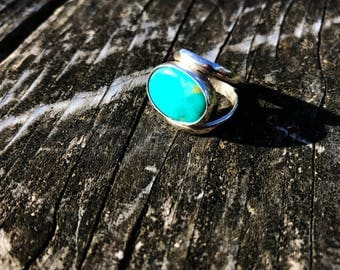 Beautiful Sleeping Beauty Turquoise . Sterling Silver Ring . Arizona Turquoise . Oval .Natural Turquoise