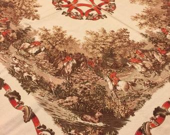 Vintage foxhunt tablecloth - fall colors - autumn foxhunt - hunt  club - Equestrian - vintage horse tablecloth