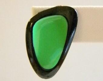 Black/Green Abstract Enamel Post Pierced Earrings