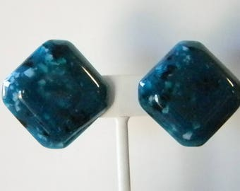 Dark Teal Speckled Square Plastic Clip Earrings
