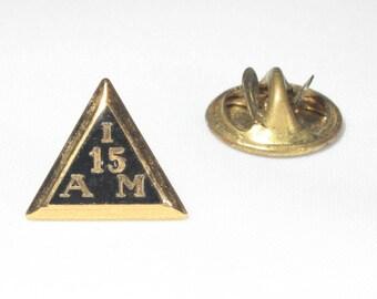 IAM Pin, Gold Fill, IAM Tie Tack, Machinist Union, Triangle Pin