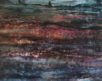 Mixed Media Art, Wood Fibre, Acrylic Painting, Inside the Earth