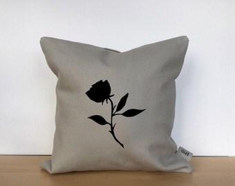 Rose pillow, rose pillow cover, flower pillow, custom pillow, custom pillow cover, hand painted pillow, housewarming gift, throw pillow