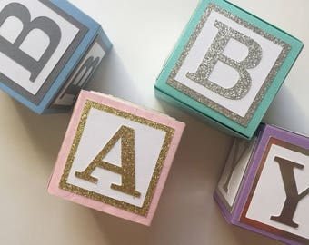 Large Custom Baby Blocks // Name Blocks // Alphabet Blocks // Baby Shower Decorations // Personalized Blocks // 4 Inch Blocks
