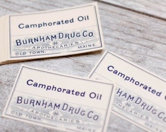 20 x Vintage Pharmacy Labels Apothecaries Apothecary Camphorated Oil Burnham Drug Maine Medicine Paper Collage Junk Journal