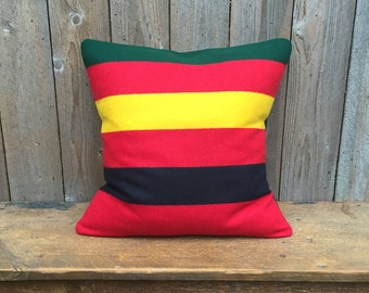 Rainier National Park Wool pillow cover -Striped Pillow Cover-  Oregon Wool pillow - Cabin Chic-Lake House-Red yellow Black Green Pillow