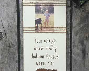 sympathy gift, bereavement sign, wooden sign, picture frame, condolence gift, grief, mourning gift, memorial sign, your wings were ready