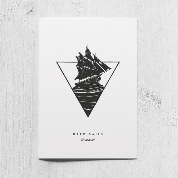 Poster Art Print - Dark Sails Blackwork Series A5 Size - Sails Moon Ni...