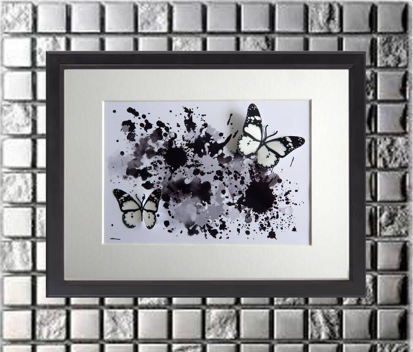 Black Floating Butterflies Abstract 3d Art Box Frame Pictureliving Roomloungedining Roombedroomwater Colour Effect