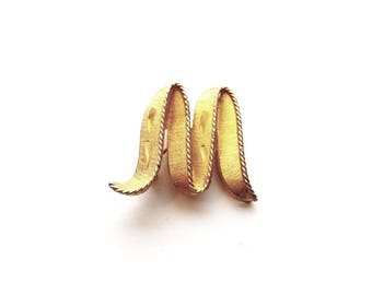 Vintage Gold Letter M or W Pin Brooch