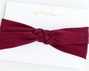 Baby Headband, Celtic Knot Headband, Baby Turban Headband, Baby Turban, Turband, Sailors Knot, Head Wrap, Baby Gifts - Solid Burgundy