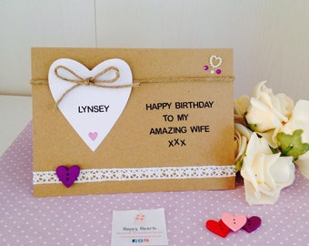 Personalised Wife Birthday Cards - Amazing Wife Handmade Card - Personalised Fiancee Birthday Cards