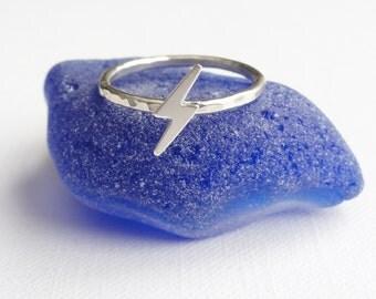 Sterling Silver Lightening Bolt Ring -  Hammered -  Skinny - Stacking Ring