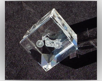Motorcycle Laser Engraved 1990s Acrylic Paperweight Cube