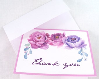 Wedding Thank You Cards with Watercolor Peonies in Pink and Violet, blank on the inside, set of 12