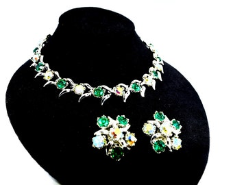 Vintage BSK Aurora Borealis Rhinestone Necklace with Earrings