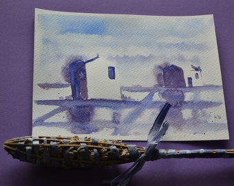 Saline, Secovlje salt pans in Slovenia, original small watercolor painting, Slovenia, OOAK
