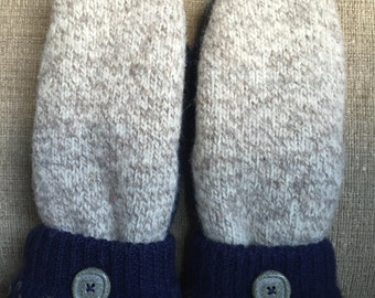 Sweater mittens lined with fleece - Upcycled from 100% wool sweaters.  Your Arms will be Jealous!