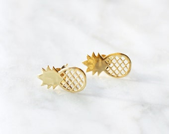 E1043 - New Sterling Silver Gold Pineapple Fruit Studs Earrings