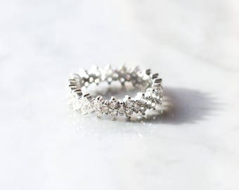R1012 - New Sterling Silver Crown Crystal Size 6 Ring