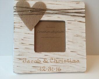 Personalized Wedding Photo Frame, Engagement Frame, Custom name date