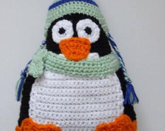 Crochet Penguin Pillow, Penguin Pillow, Penguin with Hat and Scarf Pillow, Winter Penguin Pillow, Handmade Penguin Pillow