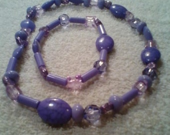Purple Bracelet and Necklace Set