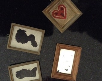 Vintage Miniature Silhouettes and Mirror
