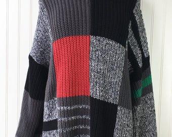 Oversized Color Block Turtleneck Sweater