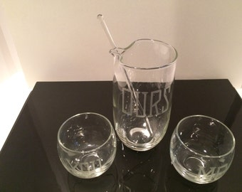 You, me, ours carafe and rolly polly vintage set with swizzle stick