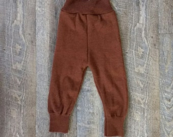 Upcycled Brown Wool - Longies - Soaker - Shorties - Cloth Diaper Cover - Baby Toddler Pants Medium M Shower Gift