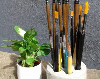 """Concrete Pencil holder. 7-hole.""""Revolverdrum"""".Modern office decor.Creates a beautiful tidy desk!Must have office accessory."""