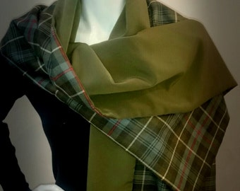 Roger Mac! Outlander inspired wrap in Ancient MacKenzie weathered hunting tartan. Fully lined in a fabulous fabric. Made in UK.