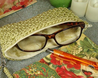 Crocheted Eyeglass Case PATTERN | Wicker Weave | Case For Glasses | Zippered Purse | Crocheted Purse | Purse Organizer | Women