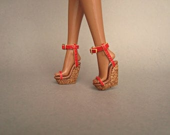 """Fashion Royalty 12"""" shoes Cork Wedges, Red"""