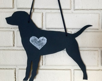 Black Lab - Labrador Retriever - Handmade Chalkboard - Dog Shadow Silhouette - Country Decoration - Great Gift