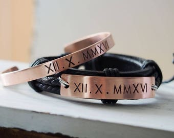 Boyfriend bracelet leather Anniversary gifts for men Boyfriend and Girlfriend Bracelets, roman numeral, husband wife, Personalized bracelets