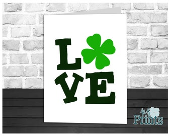 St Patrick's Day Card, Lucky in Love, Irish Love, Shamrock Love, Holiday Greeting Card, Instant Download, Digital Printable, 5x7 Card