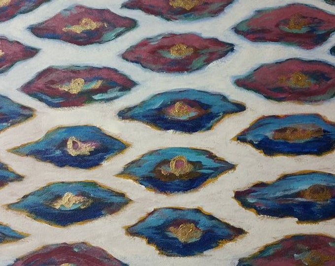"""Titled """"Karina"""" Ikat Design, Handpainted Floorcloth, Painted Canvas Art Rug, Offered by Artist"""