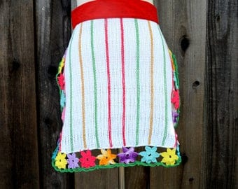 Beautiful Vintage Crocheted Apron, Red Waistband with Colorful Crocheted Flower Trim, Dish Rag Apron, 1950s
