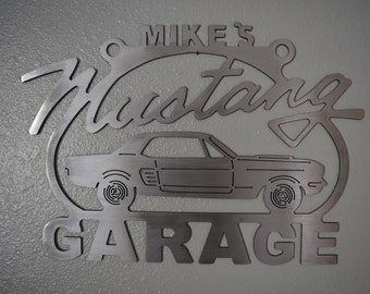 Mustang 1st generation Sign Steel Metal Garage sign Custom Personalized shop sign Ford art 65 66 67 68 Metal car garage sign
