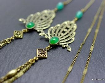 art deco long necklace